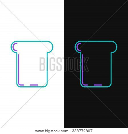 Green And Purple Line Bread Toast For Sandwich Piece Of Roasted Crouton Icon Isolated On White And B