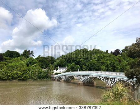 Old Wye Bridge Chepstow crossing the River Wye between Gloucestershire in England & Monmouthsire in Wales. Also known as Chepstow Bridge & Town Bridge.