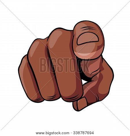 African Descent Hand Shows An Index Finger. Pointer Finger Isolated On A White Background. Sign For