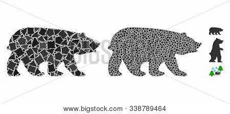 Bear Icon Composition Of Unequal Parts In Various Sizes And Shades, Based On Bear Icon. Vector Unequ