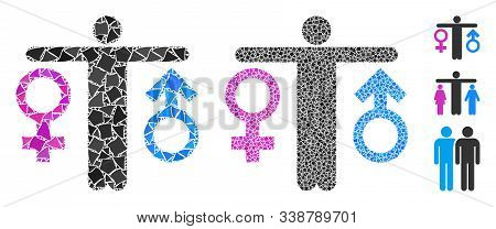 Bisexual Man Icon Mosaic Of Joggly Parts In Different Sizes And Color Tinges, Based On Bisexual Man