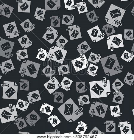 Grey Msg File Document. Download Msg Button Icon Isolated Seamless Pattern On Black Background. Msg