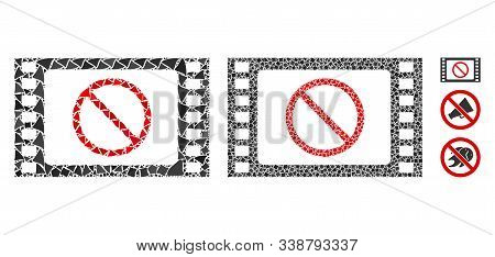 Forbidden Movie Icon Composition Of Bumpy Elements In Various Sizes And Color Tinges, Based On Forbi