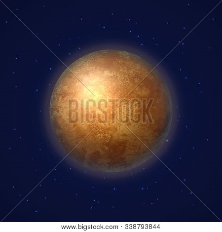 Mercury Planet On Deep Blue Space Background. Colorful First Planet Of Solar System. Galaxy Discover