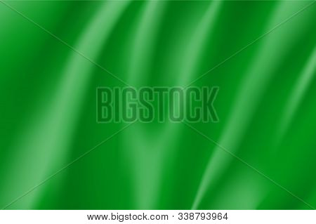 Realistic Green Silk Surface For Design. Color Background For Advertising And Presentation. Blank Re