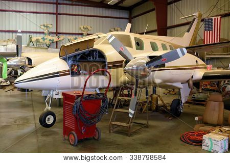 November 20, 2019 In Chino, Ca:  General Aviation Propeller Aircraft Being Serviced And Maintained I