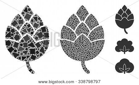 Hop Bud Icon Mosaic Of Rough Items In Different Sizes And Color Tints, Based On Hop Bud Icon. Vector