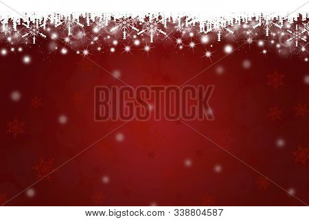 Chirstmas Snowflakes And Icicles On Red Background With Copy Space.