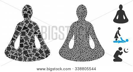 Yoga Icon Composition Of Bumpy Pieces In Various Sizes And Color Tints, Based On Yoga Icon. Vector B