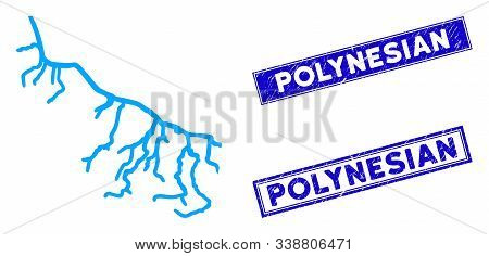 Flat Vector River Pictogram And Rectangle Polynesian Seals. A Simple Illustration Iconic Design Of R
