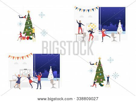 Office Christmas Party Set. Colleagues Dancing And Decorating Xmas Tree. Flat Vector Illustrations.