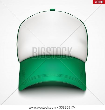 Layouts Of Trucker Cap. A Template Simple Example Cap. Element Of Service Apparel Clothes. Front Vie