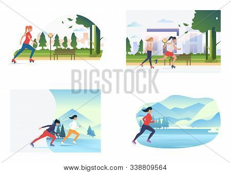 Summer And Winter Skating Set. Girls Roller Skating, Skating On Ice. Flat Vector Illustrations. Hobb