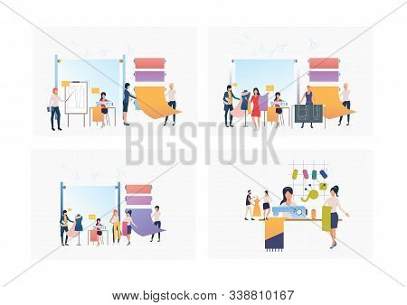 Set Of Dressmakers Sewing Clothes In Sewing Studio . Flat Vector Illustrations Of Business, Tailor S