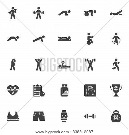 Fitness Exercise Vector Icons Set, Sport Equipment Modern Solid Symbol Collection, Filled Style Pict