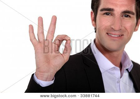 Man giving the a-ok hand gesture