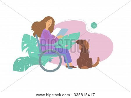 Woman Sitting In A Wheelchair. Shes Holding A Book. Close At His Feet Sits A Dog.