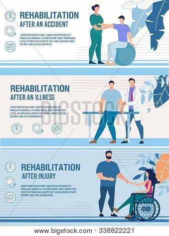 Rehabilitation After Accident, Injury, Illness. Advertising Header Banner Set. Flat Design. Physioth