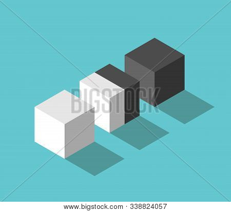 Isometric Double Cube Between White And Black. Negotiation, Diplomacy, Cooperation, Conflict And Mer