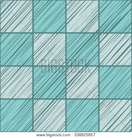 Square Tiles, Background Seamless, Light Blue, Vector. Squares Diagonally Shaded Light Blue On Dark