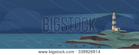 Lighthouse On Seashore At Rainy Night Flat Vector Illustration. Island Pharos, Seascape, Signal Buil