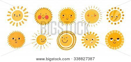 Cute Sun Flat Vector Illustrations Set. Yellow Childish Sunny Emoticons Collection. Smiling Sun With