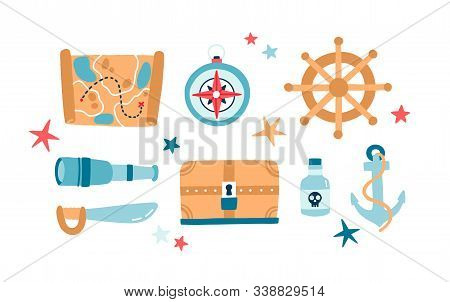 Pirate Items Flat Vector Illustrations Set. Anchor, Spyglass, Saber, Steering Wheel Isolated Color P