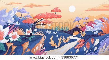 Fantasy World Flat Vector Illustration. Fantastic Location, Unrealistic Flora, Magic Plants, Fairy F