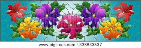 Illustration In Stained Glass Style With Floral Arrangement Of Flowers, Colorful Flowers And Leaves