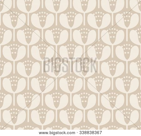 Simple Neutral Blooms Seamless Vector Pattern. Off White Minimal Blooms Stacked Up To Form A Tight P