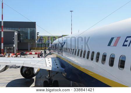Orio Al Serio, Bergamo, Italy - Circa September 2015 - Ryanair Aircraft Boeing 737-800 Parked At The