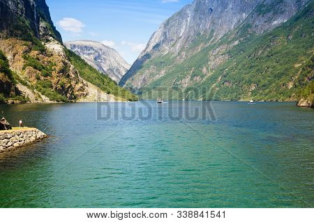 Landscape With Mountains And Fjord In Norway, Sunny Day, View From Gudvangen.