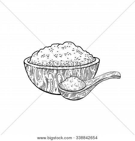 Wooden Bowl Spoon With Food - Sketch Flour, Rice, Sea Salt, Spirulina, Spice, Potato, Oat, Sugar, Po