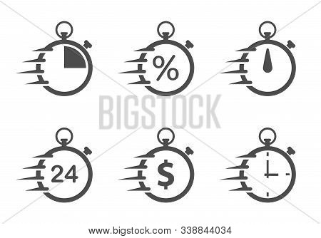 Fast Stopwatch Flat Icons Isolated On White Background. Fast Time Stopwatch Vector Icon Set For Web