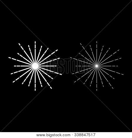 Sunburst Fireworks rays Radial ray Beam lines Sparkle Glaze Flare Starburst concentric radiance lines icon outline set white color vector illustration flat style simple image poster