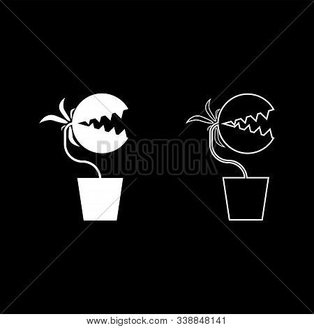Carnivorous Plant Flytrap Monster With Teeths In Pot Icon Outline Set White Color Vector Illustratio