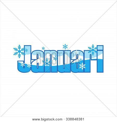 Vector January Letters, Cursive, January Inscriptions, Calendar Months, January Winter Calligraphy.
