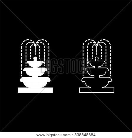 Fountain Tier Of Water Icon Outline Set White Color Vector Illustration Flat Style Simple Image