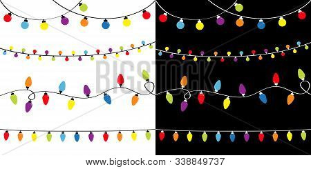 Christmas Lights Set. Four Lightbulb Glowing Garland. Holiday Festive Xmas Decoration. Colorful Stri