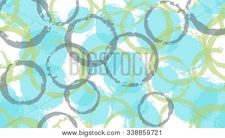 Funky Watercolor Circles Geometry Fabric Print. Round Shape Splotch Overlapping Elements Vector Seam
