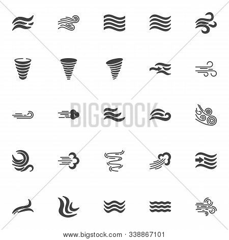 Wind Blow Vector Icons Set, Modern Solid Symbol Collection, Filled Style Pictogram Pack. Signs, Logo