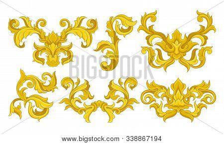 Golden Monograms With Floral Ornament Collection, Baroque Vignettes Design Element Vector Illustrati
