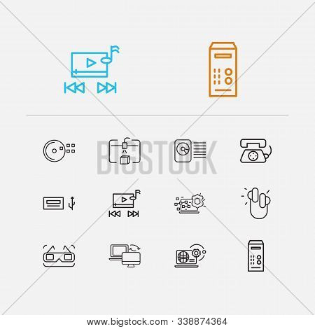Technology Icons Set. Cd Disk And Technology Icons With Music Player, Steamroller And Earphones. Set