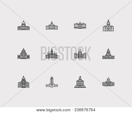 Landmark Icons Set. Arizona State Capitol And Landmark Icons With Famous Building, State Capitol And