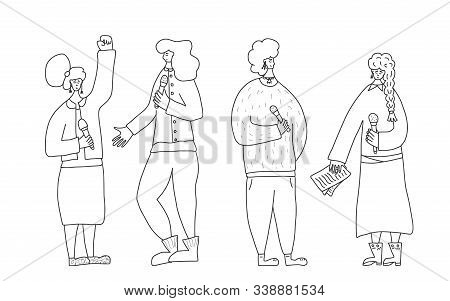 Speakers Characters. Group Of Young Various Women Standing With Microphone. Orator Speaking. Girls W