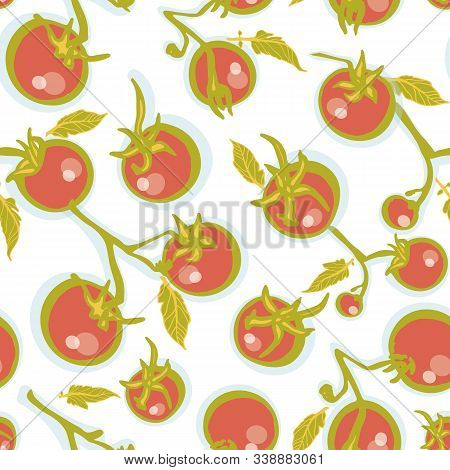 Delicious Hand Drawn Tomatoe Pattern On White Background. Food, Cooking Pattern. Yummy Design For Re