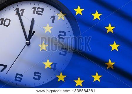 Composite Of The Eu Flag And Dial Of A Clock