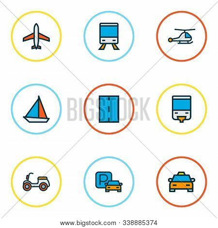 Transportation Icons Colored Line Set With Airplane, Taxi, Train And Other Scooter Elements. Isolate