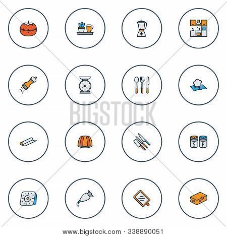 Gastronomy Icons Colored Line Set With Kitchen Plant, Blender, Tin Foil And Other Custard Elements.