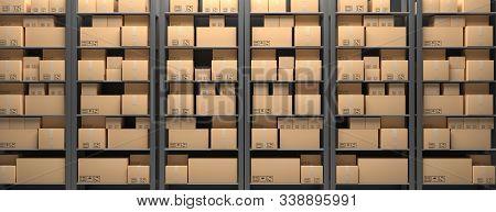 Cardboard Boxes On Storage Warehouse Shelves Background. 3D Illustration